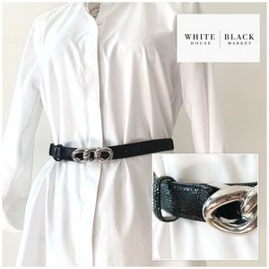 WHBM Black Belt White Metal Buckle